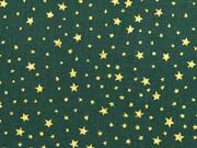 Baumwollstoff Sternchen, gold auf tannengrün