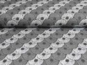 Jacquard Strick geometrisches Kreise Blumen meliert, anthrazit