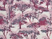 Baumwollsatin Bäume, bordeaux rosa
