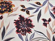 Viskose große Blumen, braun orange hellbeige