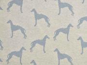 Jacquard Strick Windhunde, grau hellbeige