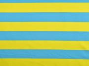 Jersey Blockstreifen, gelb türkis