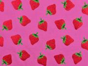 Jersey Glitzer Erdbeeren, pink