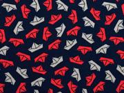 Jersey Papierschiffchen, hellbeige rot dunkelblau