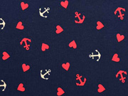 Jersey Herzen & Anker, hellbeige rot dunkelblau