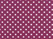 beschichtete Baumwolle Punkte 3mm, weiß pflaume
