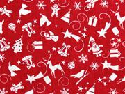 Baumwollstoff Weihnachtsmotive, weiß rot