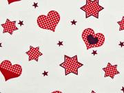 RESTSTÜCK 29 cm Baumwollstoff Herzen & Sterne, rot auf cremeweiss