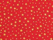 Baumwollstoff Sternchen, gold auf rot