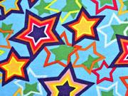 angerauter Sweatstoff bunte Sterne auf  Hellblau
