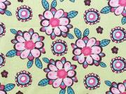Baumwolle Blumen - rosa auf hellgelb