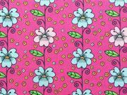 Baumwolle Blumenranken & Miniblümchen, pink