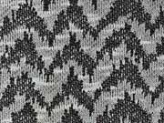 Jacquard Strickstoff Zickzack, grau schwarz