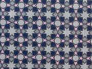 Baumwollstoff Sterne & Kreise, navy rosa auf grau