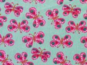 BW Schmetterlinge - pink auf mint