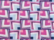Reststück 35cm Voile Viskose bunte Quadrate - hellblau/pink