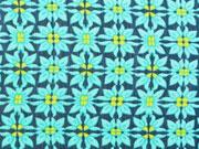 Chiffon Blumen, aquamarin/dunkelpetrol