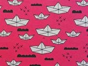 Jersey Papierschiffchen & Wolken - fuchsia (pink)