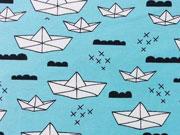 Jersey Papierschiffchen & Wolken - eisblau