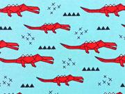 Jersey Origami Krokodile - hellblau