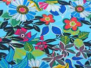 RESTSTÜCK 105 cm Jersey Tropical Blumen türkis