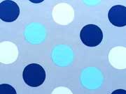 Softshell große Punkte 4,5 cm, blau auf hellgrau