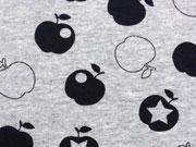 Jersey Cool Apples, schwarz auf grau melange