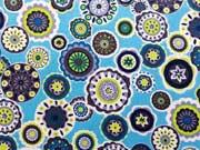 BW Blumen Mandala, bunt auf türkis