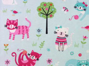 RESTSTÜCK 33 cm Jersey bunte Katzen Little Darling, hellaqua