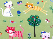 RESTSTÜCK 25 cm Jersey bunte Katzen Little Darling, hellgrün