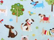 RESTSTÜCK 21 cm Jersey bunte Hunde Little Darling, hellaqua