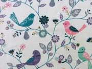 RESTSTÜCK 38 cm Jersey Vögel mit Blumen & Blättern, hellgrau