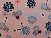 RESTSTÜCK 74 cm Jersey Blumen & Blätter auf altrosa