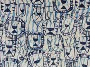 Sweat Löwen Gesichter creme / dunkelblau