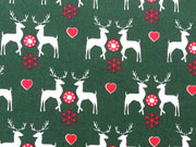Baumwollstoff Weihnachtshirsche Herzen, dunkelgrün