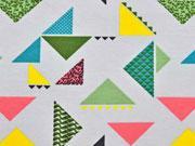 Jersey bunte Dreiecke, bunt/hellgrau