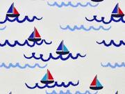 RESTSTÜCK 73 CM Jersey Boote & Wellen Little Darling,   weiss