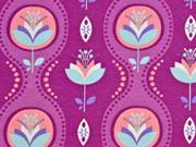 Jersey Blumen Bordüren, Pflaume