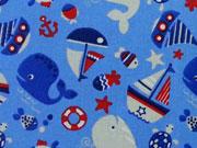 beschichtete Baumwolle maritime Muster, hellblau