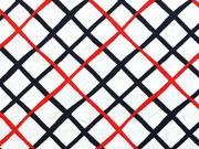 Jersey Rautenmuster, rot/dunkelblau auf weiß
