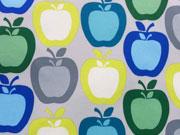 RESTSTÜCK 25 cm Softshell Äpfel, hellgrau/Zitronengelb