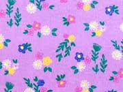 Feincord Blumen & Blätter, flieder