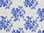 Reststück 90cm Viskose Blümchen Stickerei, blau/ weiß