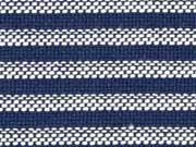 Baumwollstoff Streifen meliert, dunkelblau weiß