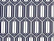 Jersey grafisches Muster, dunkelblau/weiss