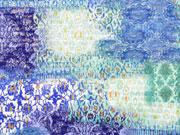 Plissee Stoff mit goldfarbigem Glitzer, blau