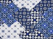 RESTSTÜCK 53 cm Milliblus Summer Cruising, Viskose Patchworklook, blau