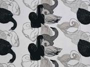 RESTSTÜCK 83 cm Sweatstoff French Terry Schwäne Milliblus Wild Things, grau weiß