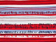 Jersey gemusterte Streifen, rot/helles eisblau