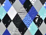 RESTSTÜCK 62 cm French Terry Sweat Rauten, blau